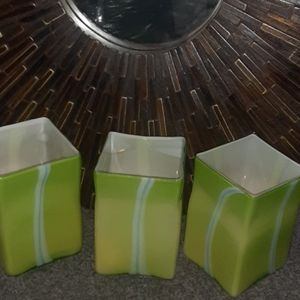 Other - GREEN GLASS DECOR-SET OF 3